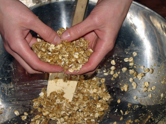 Mixing Granola prior to Baking