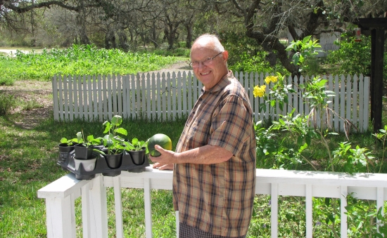 Phil with Gem Squash, and a gift of gooseberries!