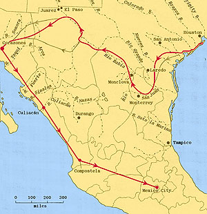 Probable Route of Cabeza de Vaca (1528 through 1536)
