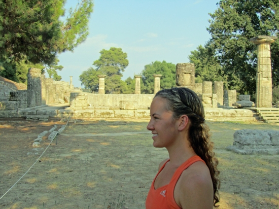 Kayla at Ancient Olympia; Women Were Strictly Forbidden from Ancient Olympics