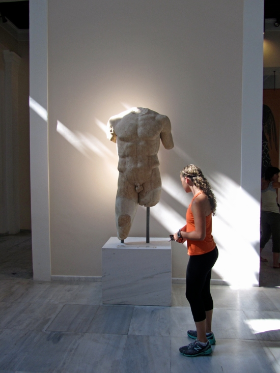 Kayla and a Statue of Zeus.  She insists she is reading the caption!