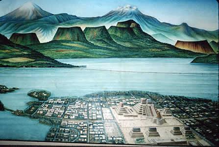 Tenochtitlan,, the Aztec Capital, a City on a Lake (Image courtesy uncp.edu)