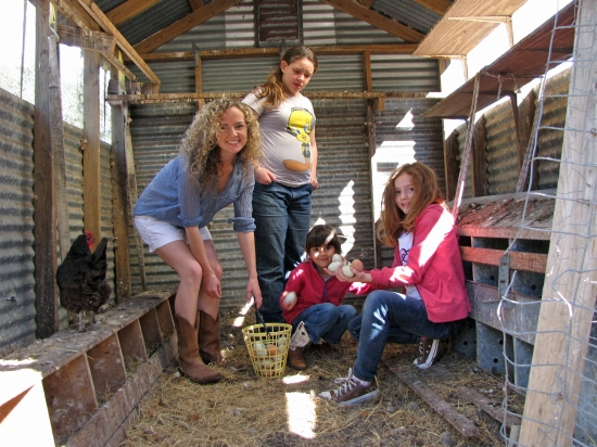 Kayla, Nati, and friends in the hen house