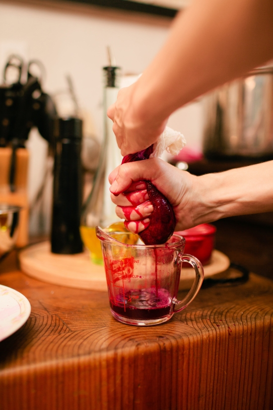 (Kayla Juicing Tunas through Cheesecloth.  Photo by our friend Rachel Durrent)