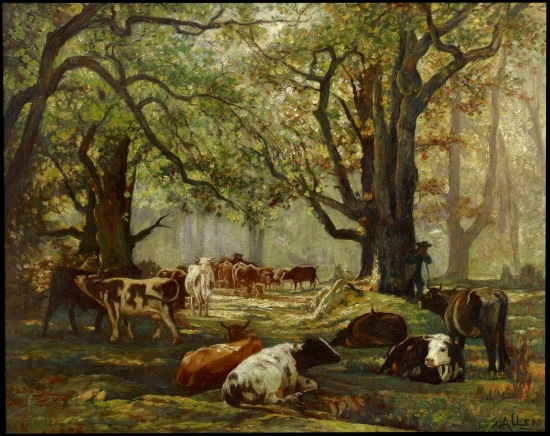 (Cattle and Herdsman Resting in Oak Grove, Thomas Allen. Courtesy Art Museum of South Texas)