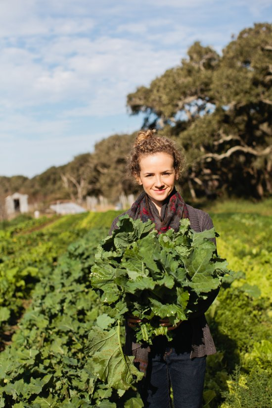 Kayla with Siberian Kale (photo courtesy racheldurrent.com)