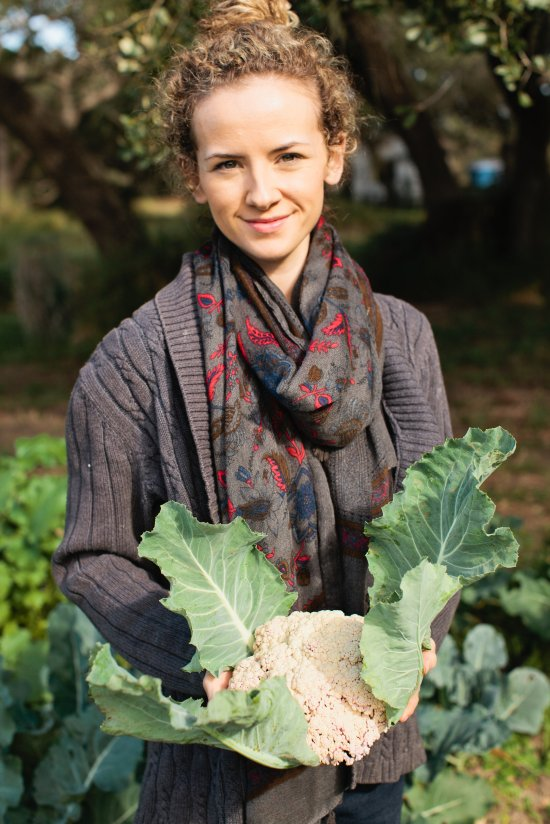 Kayla with Freshly-Picked Cauliflower