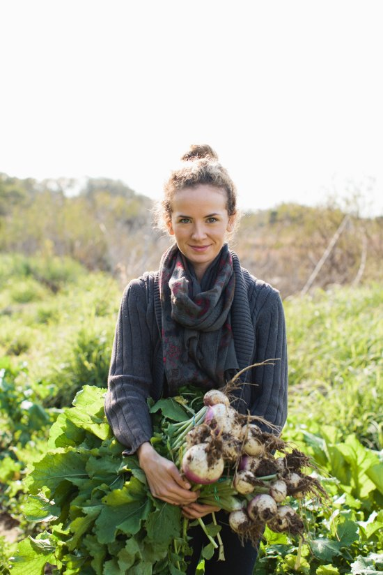 Kayla Harvesting Turnips (photo by www.racheldurrent.com)